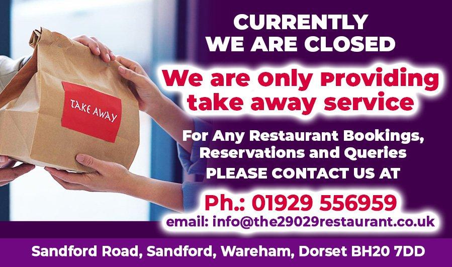 Take Away Banner - Indian Restaurant in Dorset Wareham - The 29029 Restaurant